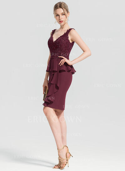 Sheath/Column V-neck Knee-Length Chiffon Cocktail Dress With Appliques Lace Sequins Cascading Ruffles (016154247)