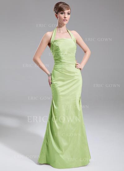 A-Line/Princess Taffeta Bridesmaid Dresses Ruffle Halter Sleeveless Floor-Length (007001857)