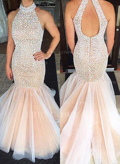 Trumpet/Mermaid Scoop Neck Sweep Train Prom Dresses (018148500)