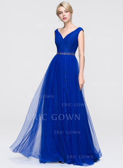 A-Line/Princess V-neck Floor-Length Tulle Prom Dresses With Beading Sequins (018089897)