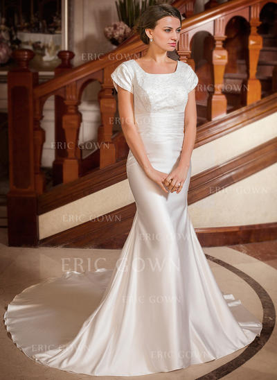 Trumpet/Mermaid Satin Short Sleeves Square Chapel Train Wedding Dresses (002001668)