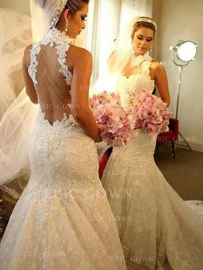 Trumpet/Mermaid Tulle Sleeveless High Neck Chapel Train Wedding Dresses (002144869)