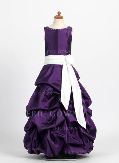 Flattering Scoop Neck Ball Gown Flower Girl Dresses Floor-length Taffeta Sleeveless (010004121)