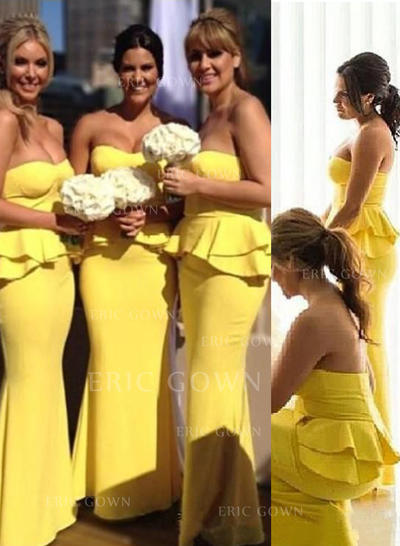 Sheath/Column Sweetheart Floor-Length Bridesmaid Dresses With Cascading Ruffles (007145011)
