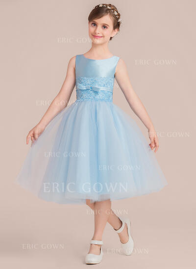 A-Line/Princess Tea-length Flower Girl Dress - Satin/Tulle Sleeveless Scoop Neck With Beading/Bow(s) (010136590)