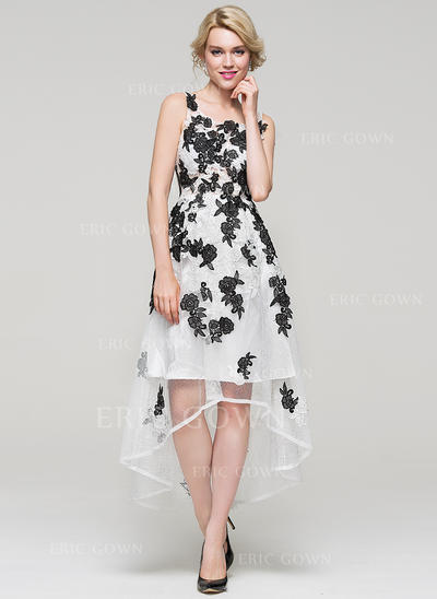A-Line/Princess Square Neckline Asymmetrical Tulle Lace Homecoming Dresses (022214081)