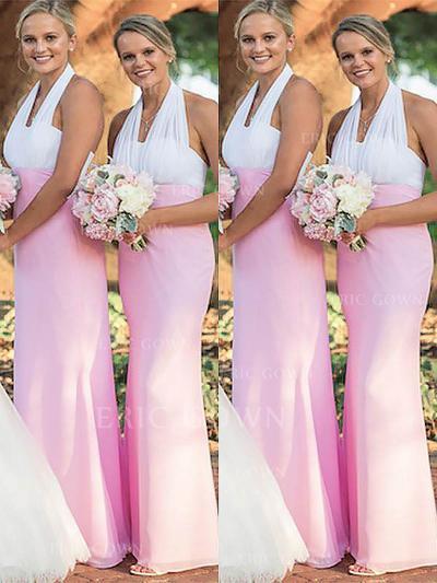 Sheath/Column Halter Floor-Length Bridesmaid Dresses (007218553)