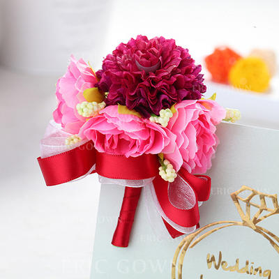Wrist Corsage/Boutonniere Wedding Fabric Girly Wedding Flowers (123189509)
