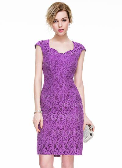 Sheath/Column Knee-Length Lace Cocktail Dress (016083829)