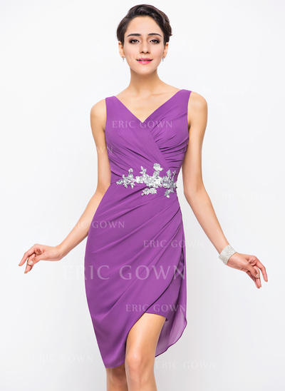 Sheath/Column V-neck Asymmetrical Chiffon Cocktail Dress With Ruffle Sequins (016055957)
