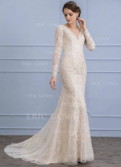 Scoop Trumpet/Mermaid Wedding Dresses Lace Long Sleeves Sweep Train (002106069)