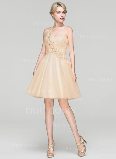 One-Shoulder Knee-Length Tulle Cocktail Dress With Beading Sequins (016094380)