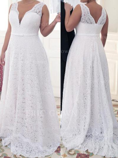 A-Line/Princess Deep V Neck V Sweep Train Prom Dresses With Sash (018212138)