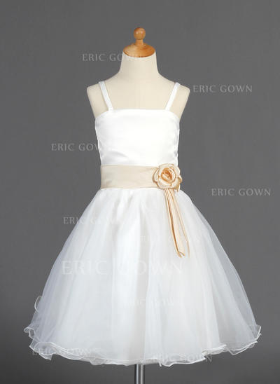 Newest A-Line/Princess Flower Girl Dresses Knee-length Organza/Satin Sleeveless (010014663)