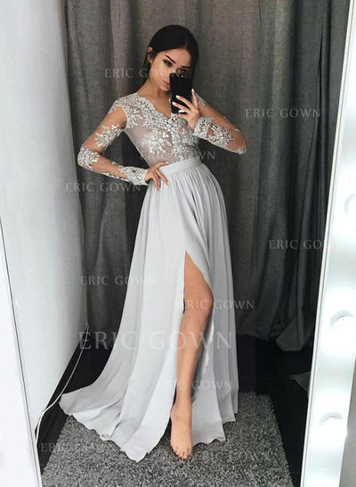 A-Line/Princess V-neck Floor-Length Prom Dresses With Lace (018211006)