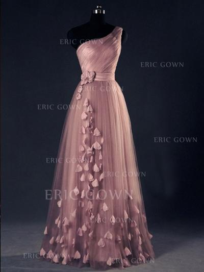 A-Line/Princess One-Shoulder Floor-Length Evening Dresses With Flower(s) (017144609)