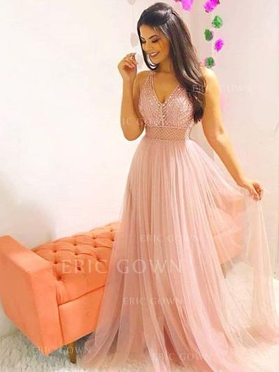 A-Line/Princess V-neck Sweep Train Prom Dresses With Beading (018218639)