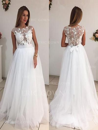 A-Line/Princess Tulle Sleeveless Scoop Sweep Train Wedding Dresses (002147989)