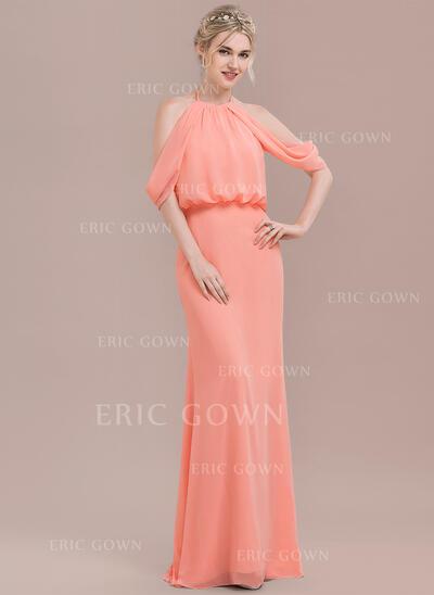 Trumpet/Mermaid Scoop Neck Floor-Length Chiffon Bridesmaid Dress With Ruffle (007116661)