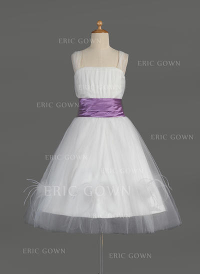 Delicate Square Neckline A-Line/Princess Flower Girl Dresses Knee-length Tulle/Charmeuse Sleeveless (010014608)