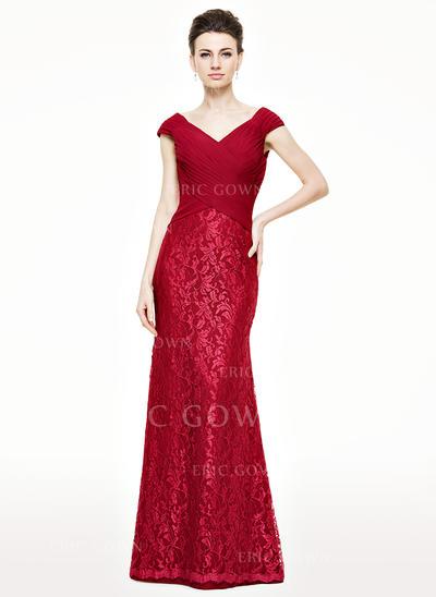 Trumpet/Mermaid Chiffon Lace Sleeveless V-neck Floor-Length Zipper Up Mother of the Bride Dresses (008062542)