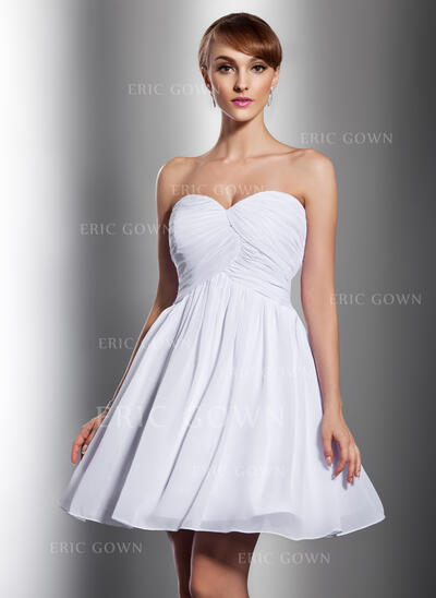 Empire Sweetheart Short/Mini Chiffon Bridesmaid Dress With Ruffle (007014788)