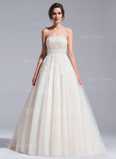 Ball-Gown Strapless Chapel Train Wedding Dresses With Beading Appliques Lace Sequins (002071237)