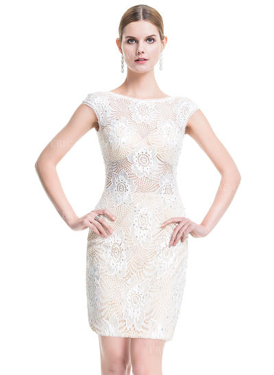 Sheath/Column Scoop Neck Short/Mini Lace Cocktail Dress With Beading (016076155)
