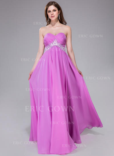 Empire Sweetheart Floor-Length Prom Dresses With Ruffle Sash Beading Appliques Lace Sequins (018040813)
