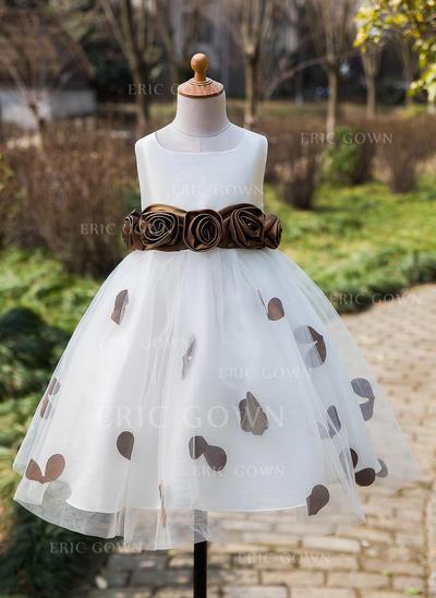Ball Gown Tea-length Flower Girl Dress - Satin/Tulle Sleeveless Scoop Neck With Flower(s)/Bow(s) (010089312)