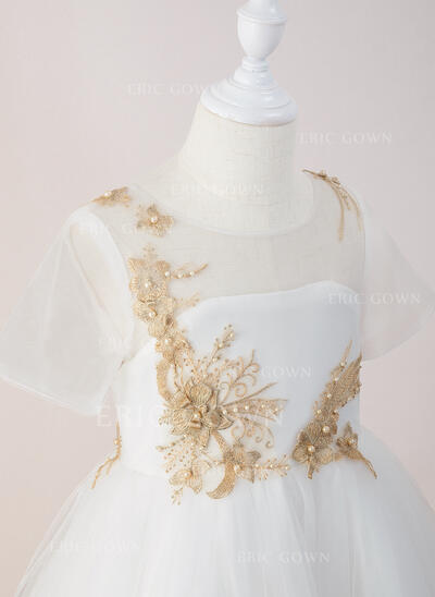 Ball-Gown/Princess Ankle-length Flower Girl Dress - Tulle/Lace Short Sleeves Scoop Neck With Beading (010195350)