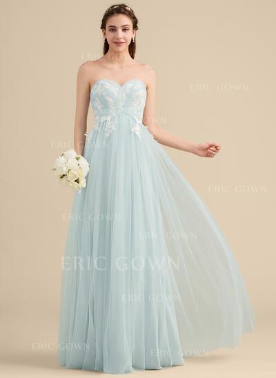 A-Line/Princess Sweetheart Floor-Length Tulle Lace Bridesmaid Dress (007153353)