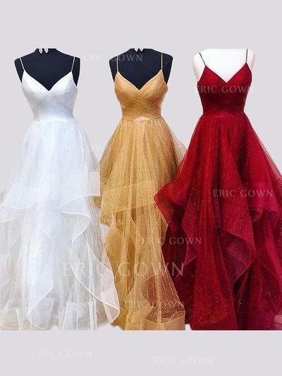 A-Line/Princess V-neck Floor-Length Evening Dresses With Ruffle (017218552)