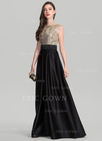 A-Line/Princess Scoop Neck Floor-Length Satin Evening Dress (017126608)