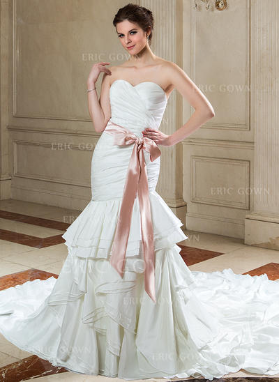 Trumpet/Mermaid Sweetheart Cathedral Train Wedding Dresses With Sash Bow(s) Cascading Ruffles (002210477)