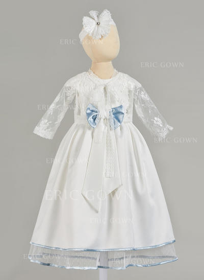 A-Line/Princess Scoop Neck Floor-length Satin Tulle Christening Gowns (2001217413)