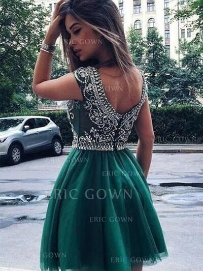 A-Line/Princess Scoop Neck Short/Mini Homecoming Dresses With Beading Appliques Lace (022216239)