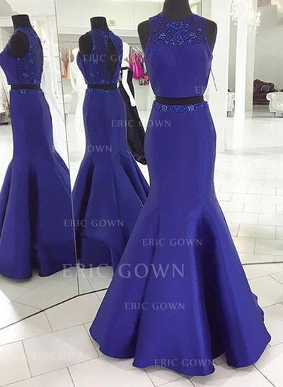 Trumpet/Mermaid Scoop Neck Sweep Train Detachable Prom Dresses With Beading (018212205)