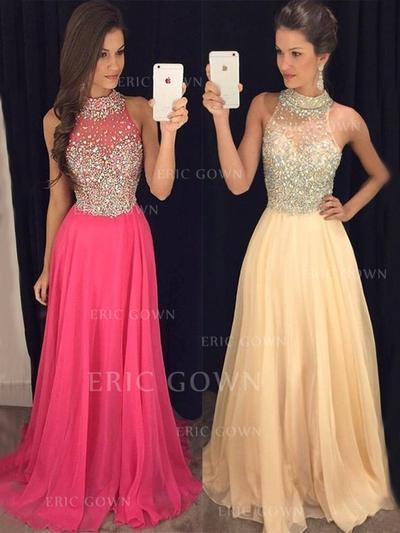 A-Line/Princess Halter Floor-Length Prom Dresses With Beading (018217932)