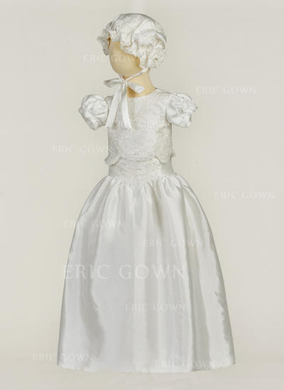 A-Line/Princess Scoop Neck Floor-length Satin Christening Gowns With Flower(s) (2001217404)