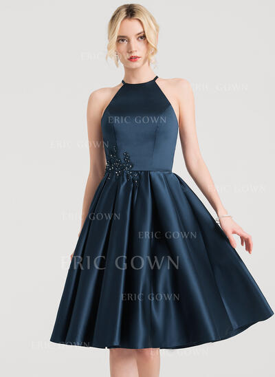 A-Line/Princess Scoop Neck Knee-Length Satin Cocktail Dress With Lace Beading (016150207)