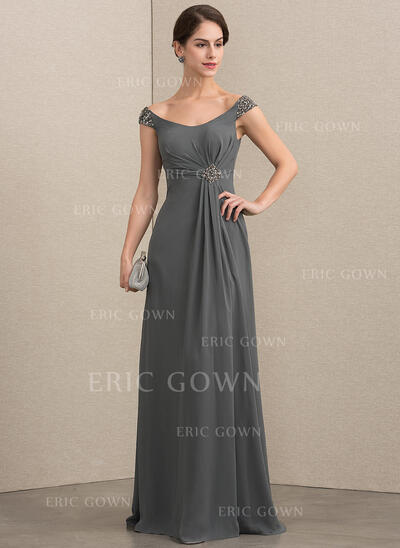 A-Line/Princess Off-the-Shoulder Floor-Length Chiffon Mother of the Bride Dress With Beading Sequins (008164063)