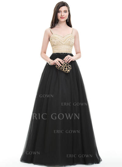 Ball-Gown Sweetheart Floor-Length Tulle Prom Dresses With Beading Sequins (018105561)