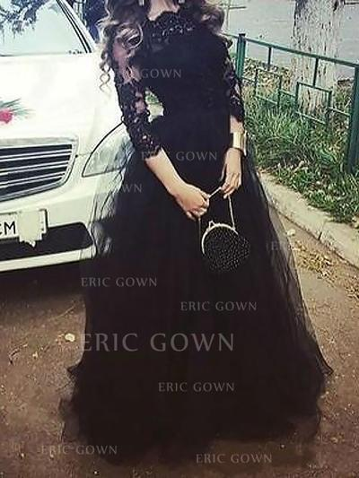 A-Line/Princess Scoop Neck Floor-Length Tulle Prom Dresses (018217279)