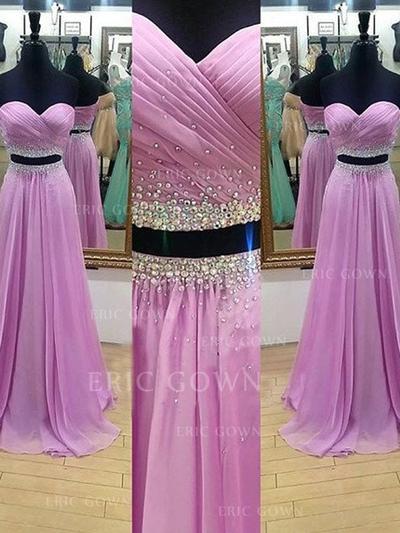 A-Line/Princess Sweetheart Sweep Train Detachable Prom Dresses With Ruffle Beading (018212208)