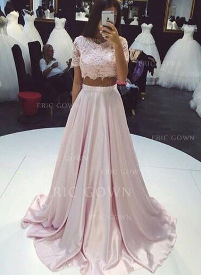 A-Line/Princess Scoop Neck Sweep Train Prom Dresses With Lace (018145921)