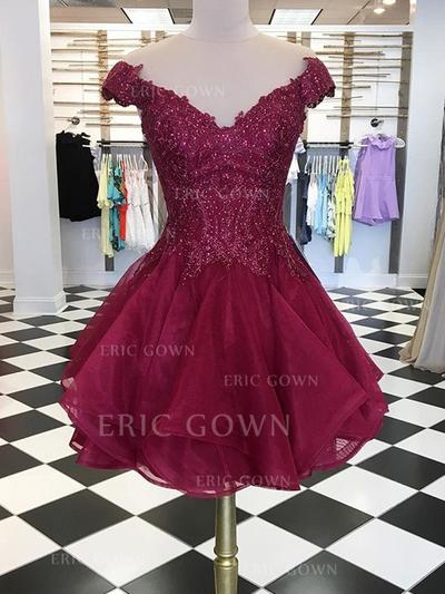 A-Line/Princess Off-the-Shoulder Short/Mini Cocktail Dresses With Beading (016219347)
