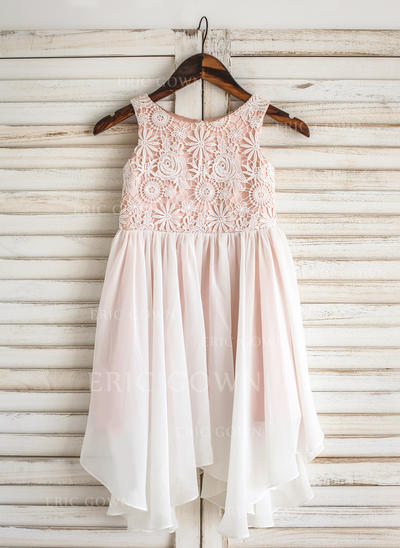 A-Line/Princess Scoop Neck Knee-length Chiffon/Lace Sleeveless Flower Girl Dresses (010211633)