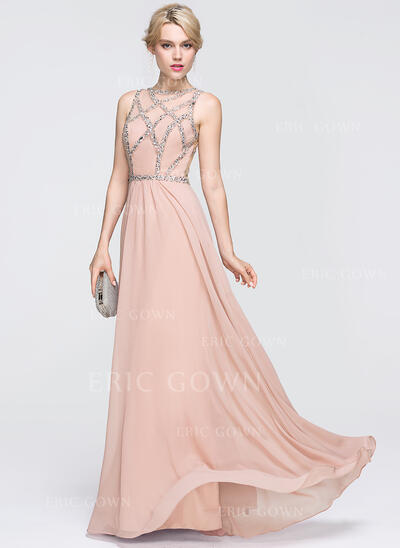 A-Line/Princess Scoop Neck Floor-Length Chiffon Prom Dresses With Beading Sequins (018089738)