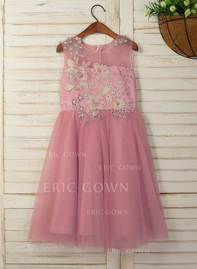 A-Line/Princess Tea-length Flower Girl Dress - Satin/Tulle Sleeveless Scoop Neck With Flower(s) (010130899)